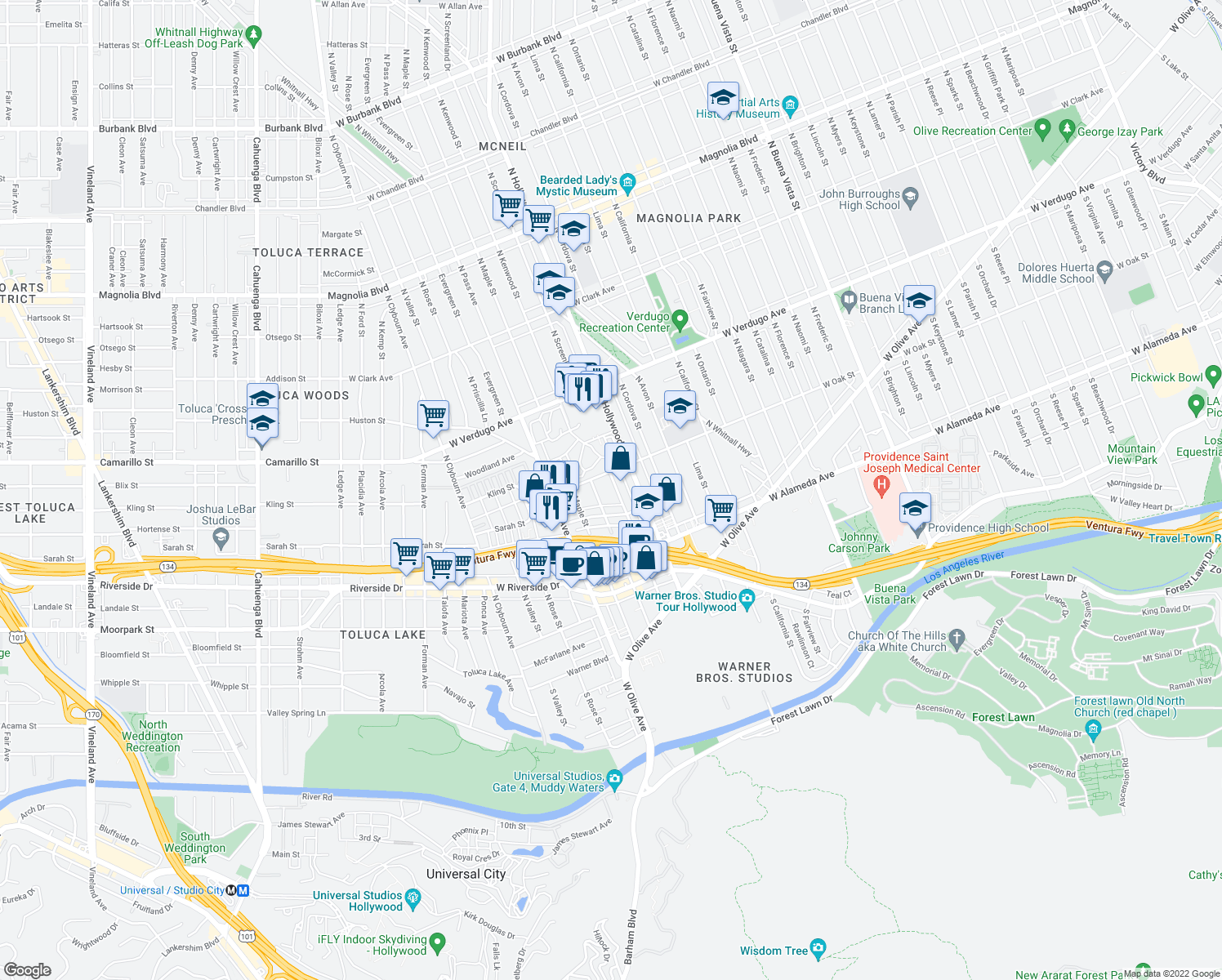 map of restaurants, bars, coffee shops, grocery stores, and more near 330 North Screenland Drive in Burbank