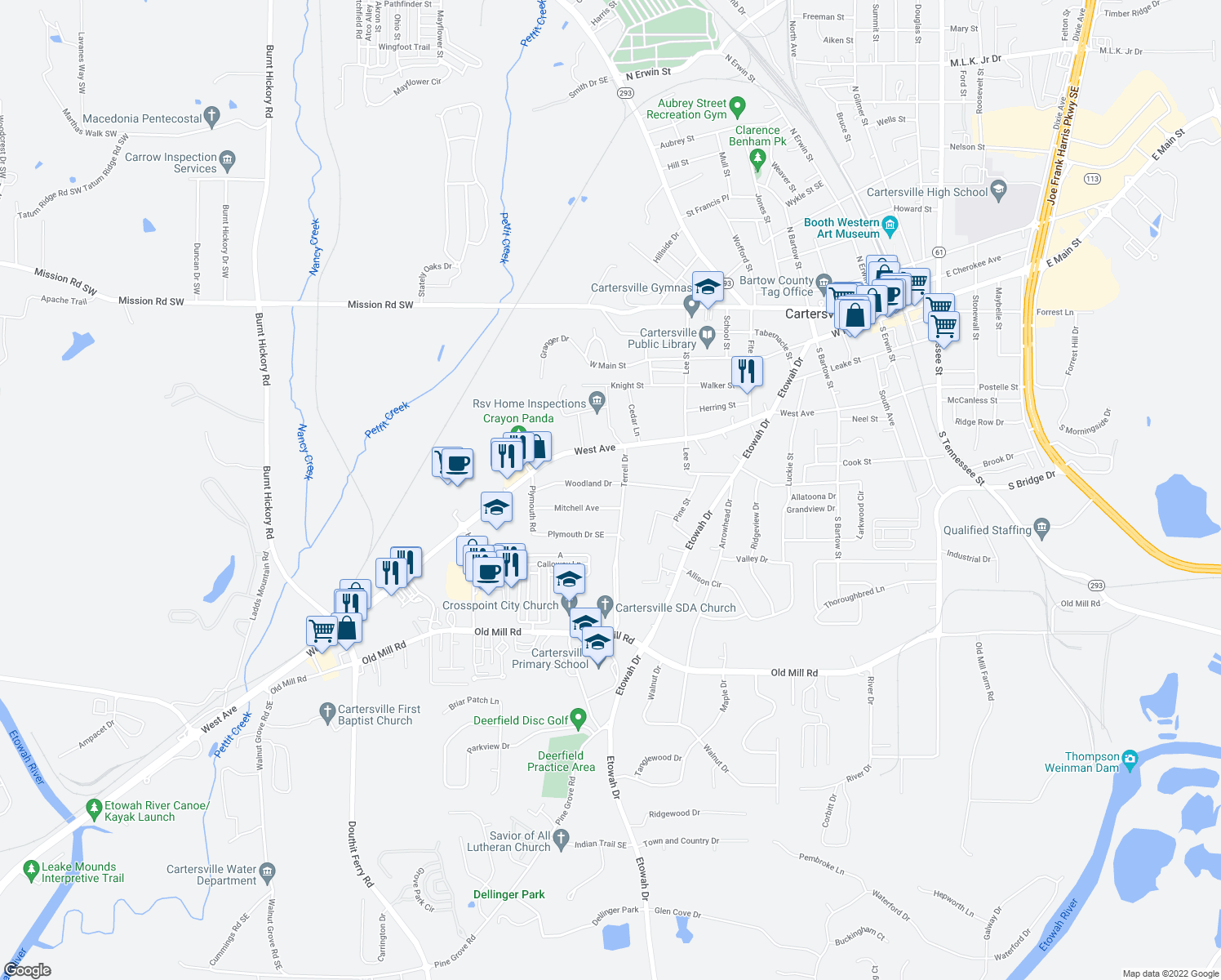 map of restaurants, bars, coffee shops, grocery stores, and more near 106 Woodland Drive in Cartersville