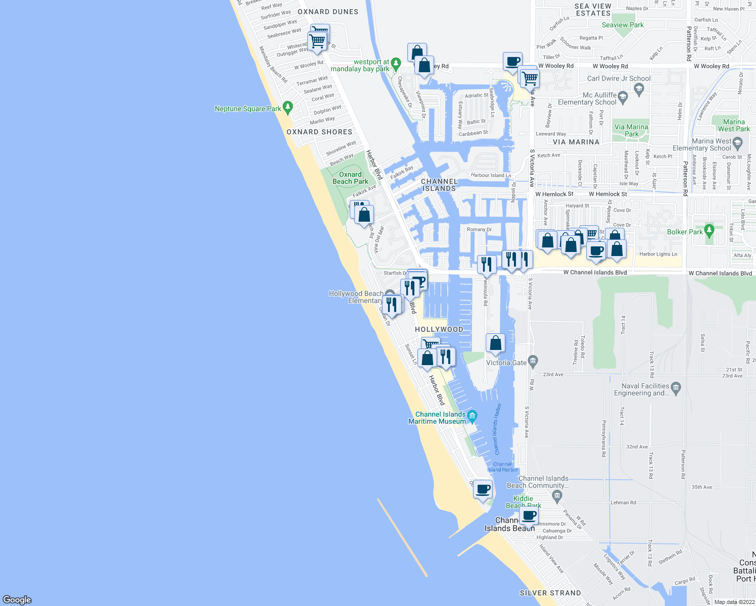 map of restaurants, bars, coffee shops, grocery stores, and more near Ocean Dr & Channel Islands Blvd in Channel Islands Beach