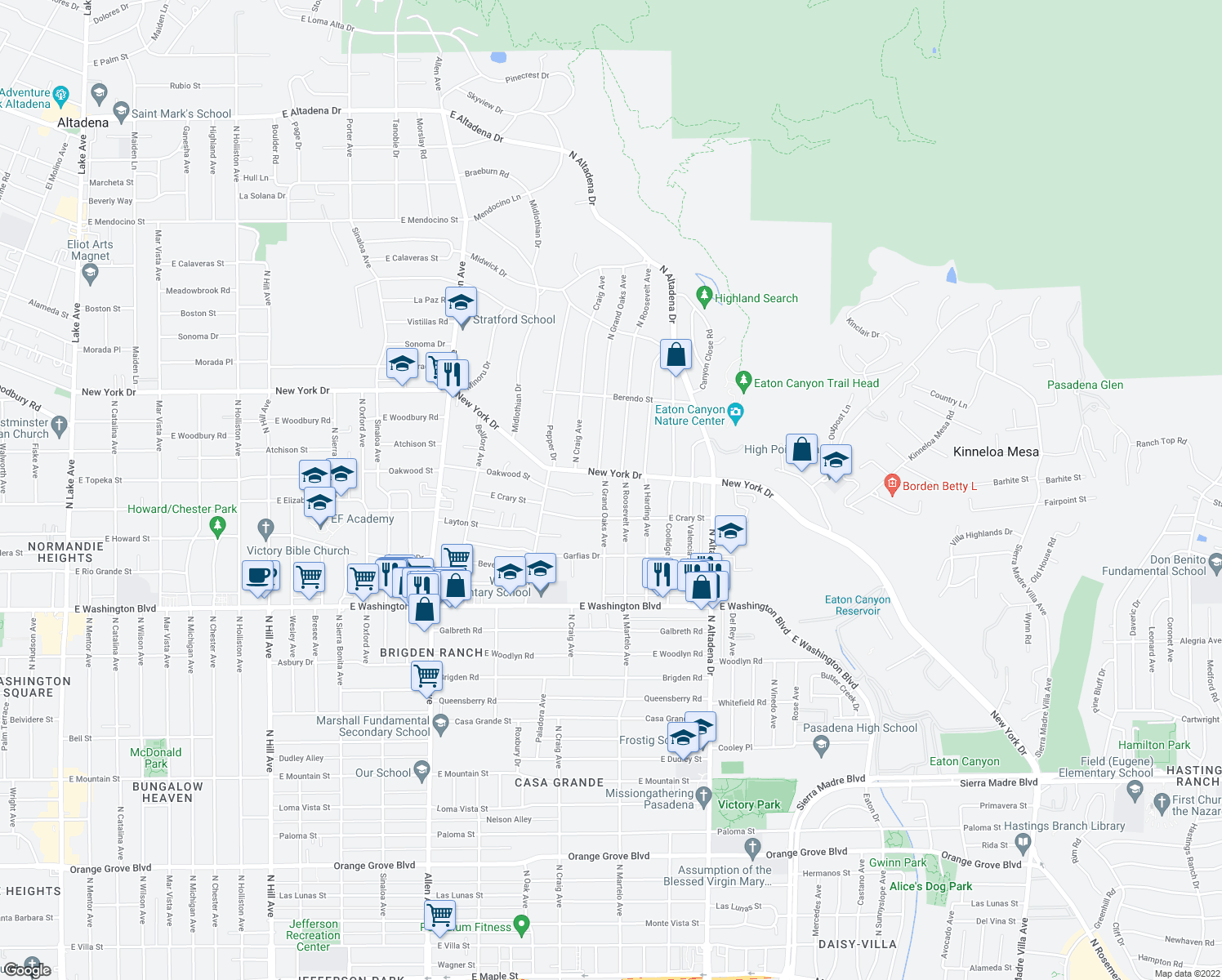 map of restaurants, bars, coffee shops, grocery stores, and more near 1626 North Grand Oaks Avenue in Pasadena