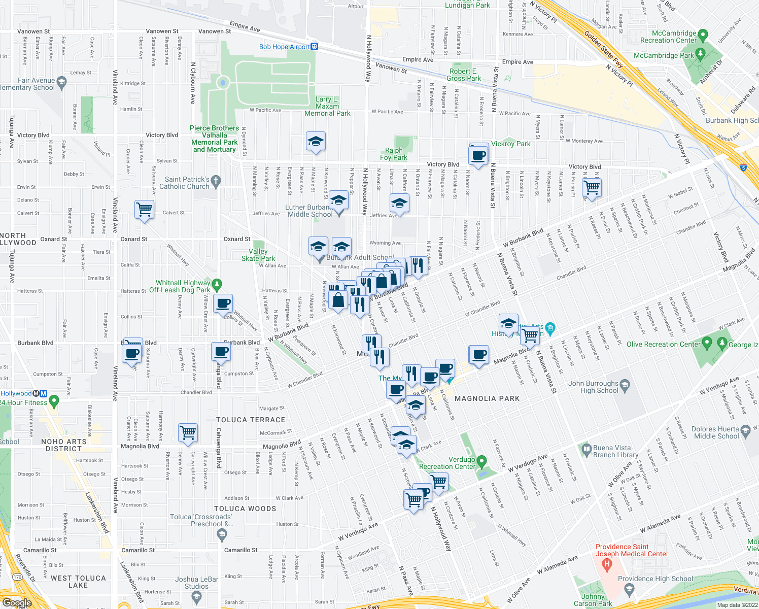 map of restaurants, bars, coffee shops, grocery stores, and more near 1340 N Avon St in Burbank
