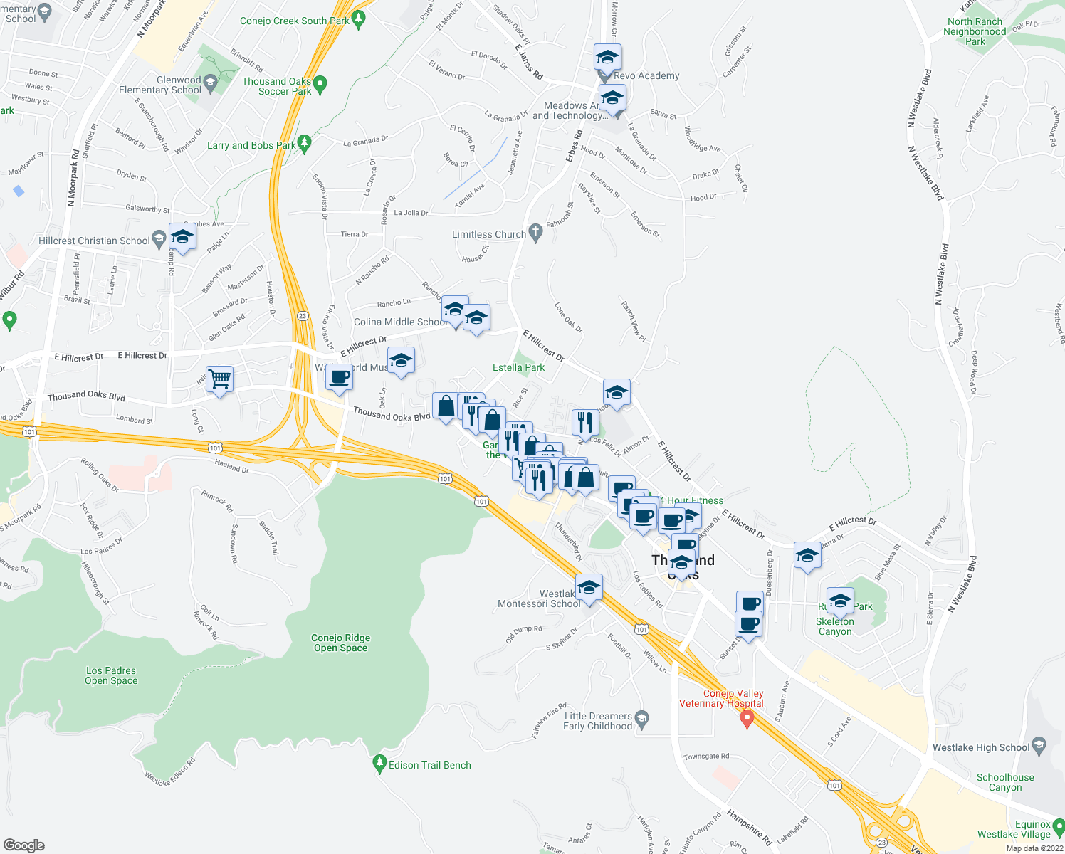 map of restaurants, bars, coffee shops, grocery stores, and more near 1937-1999 Los Feliz Drive in Thousand Oaks