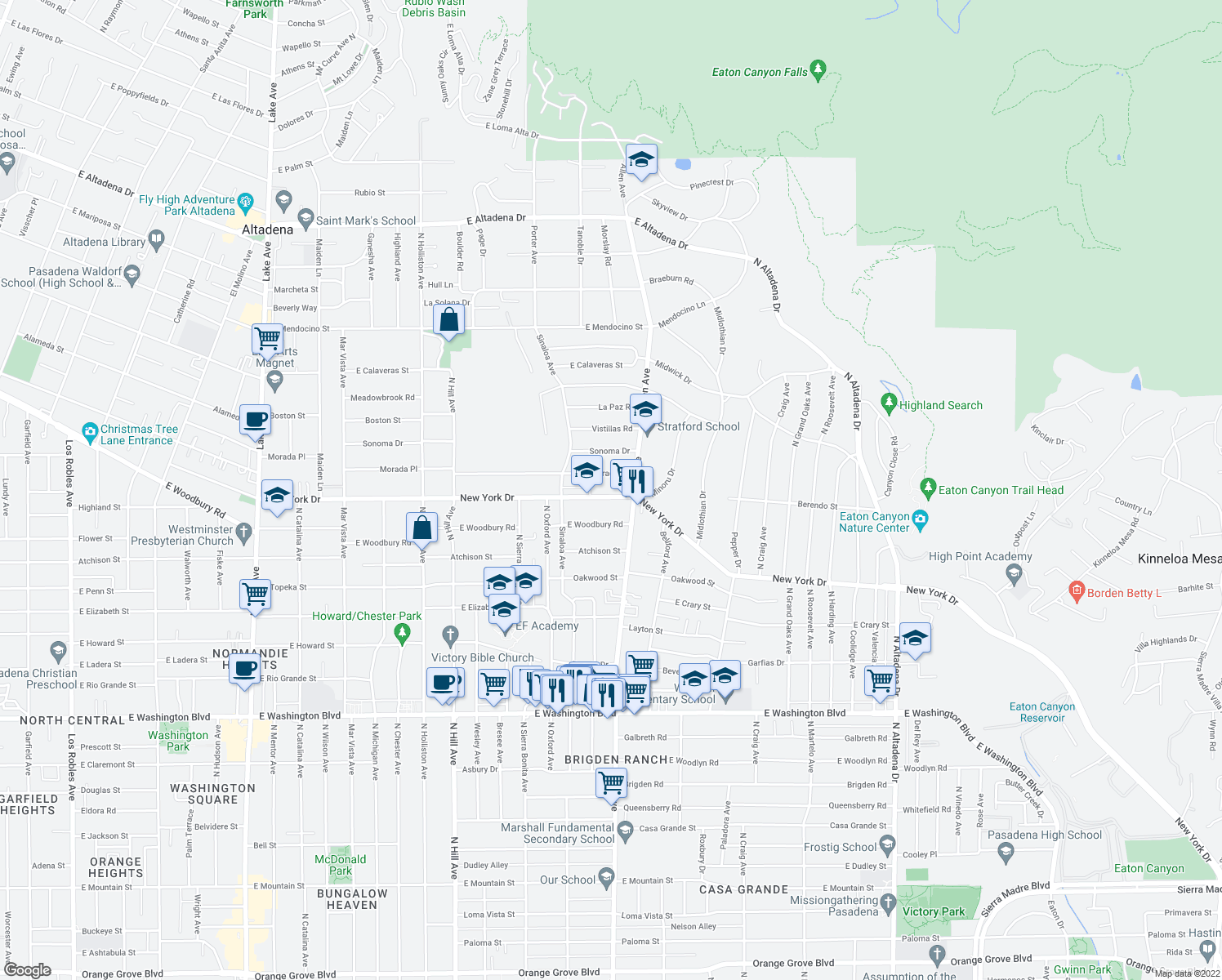 map of restaurants, bars, coffee shops, grocery stores, and more near 1807 New York Drive in Altadena