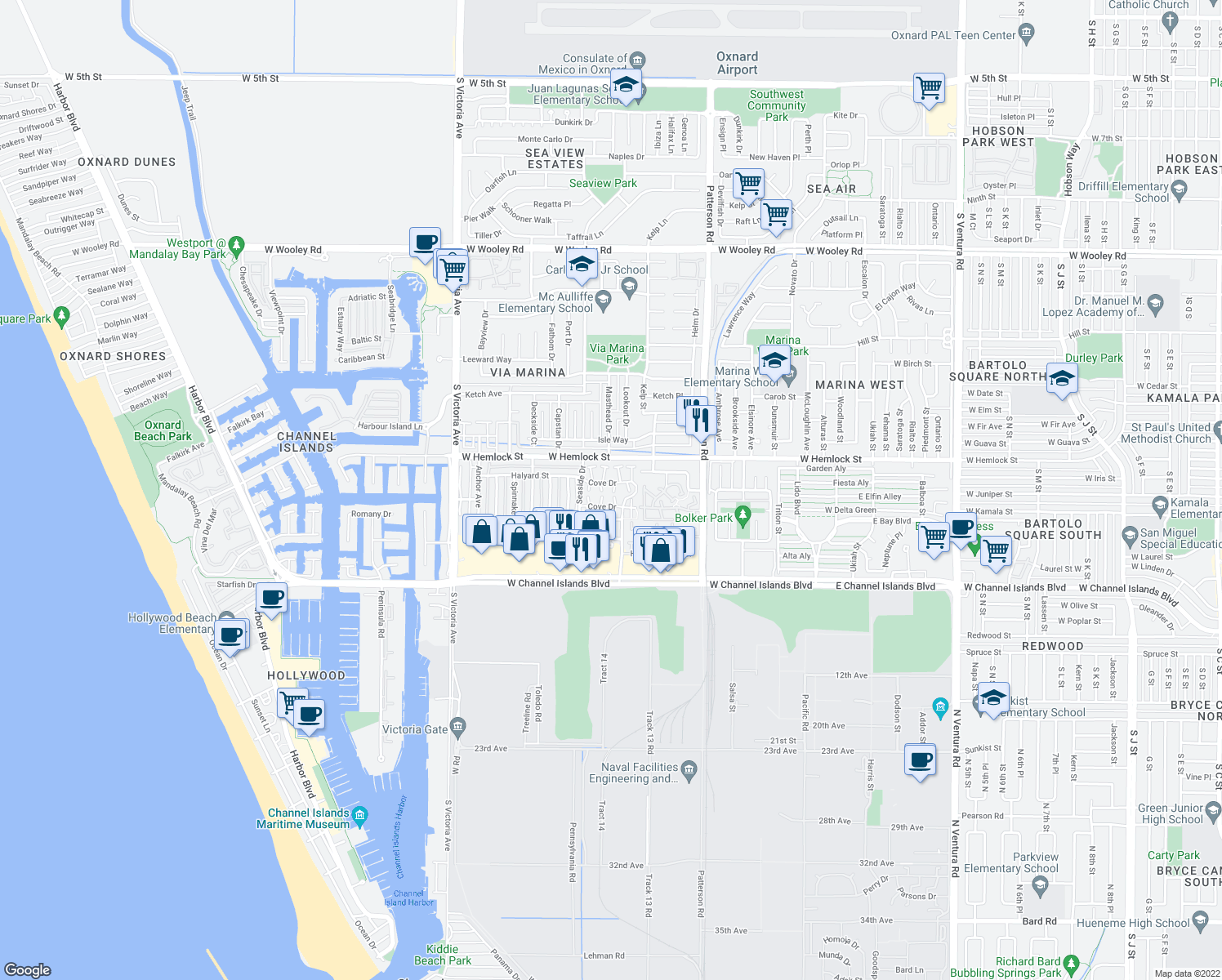 map of restaurants, bars, coffee shops, grocery stores, and more near 2605 Explorer Cove in Port Hueneme