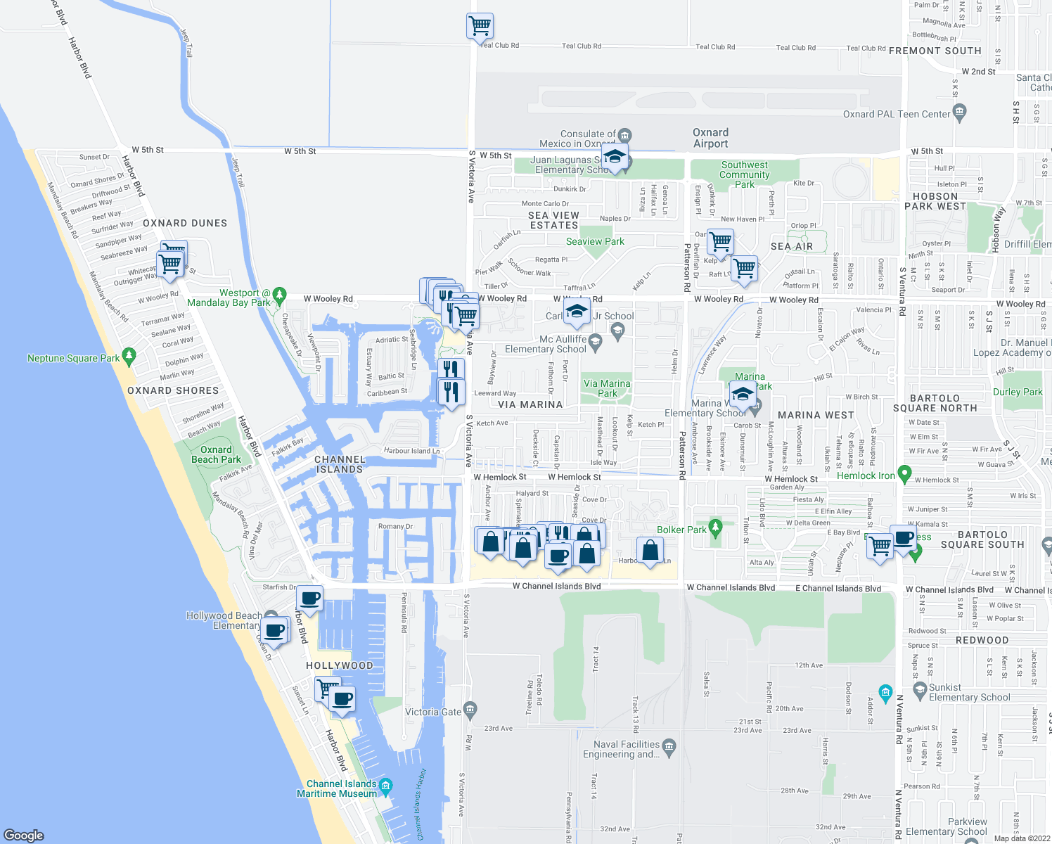 map of restaurants, bars, coffee shops, grocery stores, and more near 1741 Fisher Drive in Oxnard