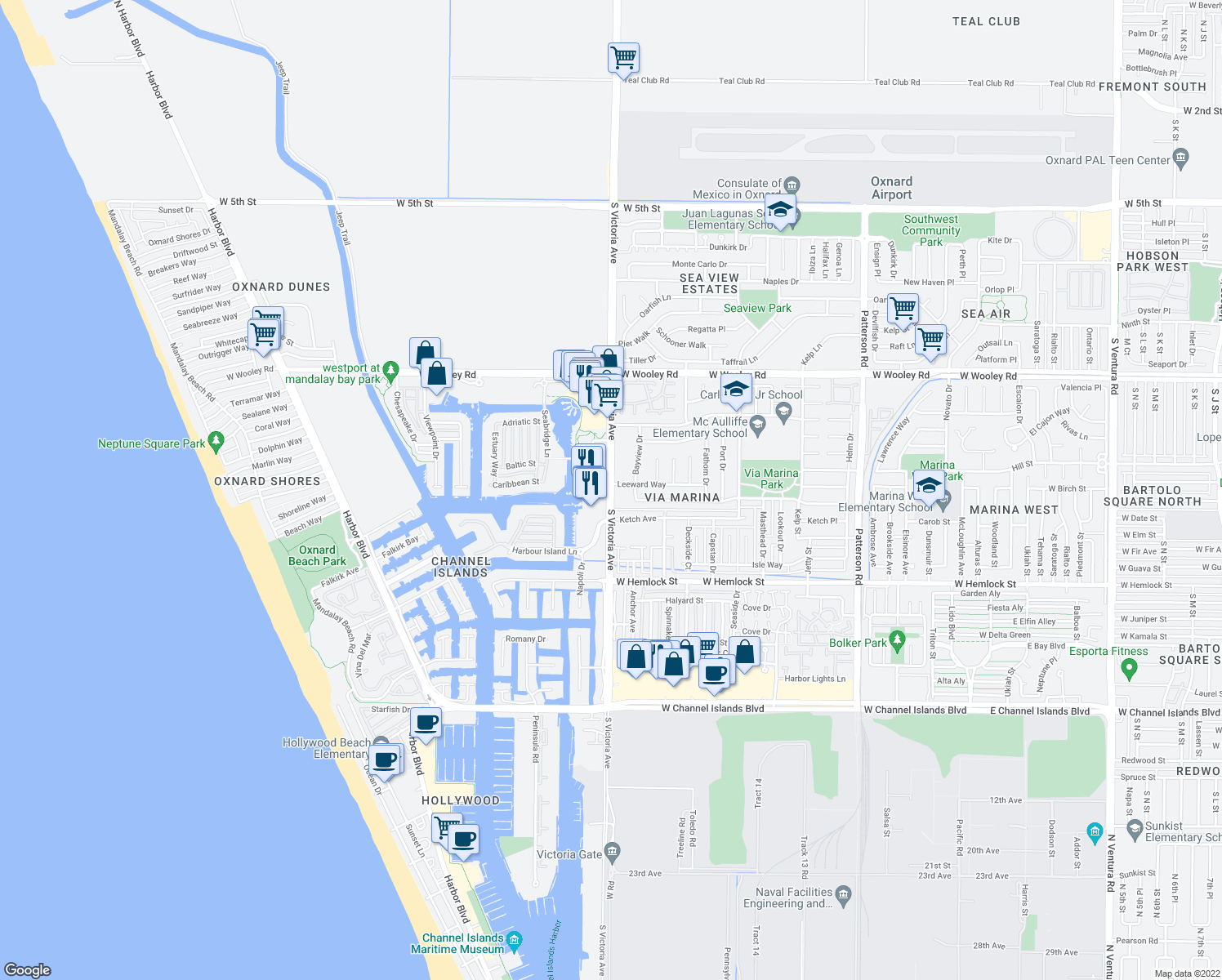 map of restaurants, bars, coffee shops, grocery stores, and more near 1473-1491 South Victoria Avenue in Oxnard