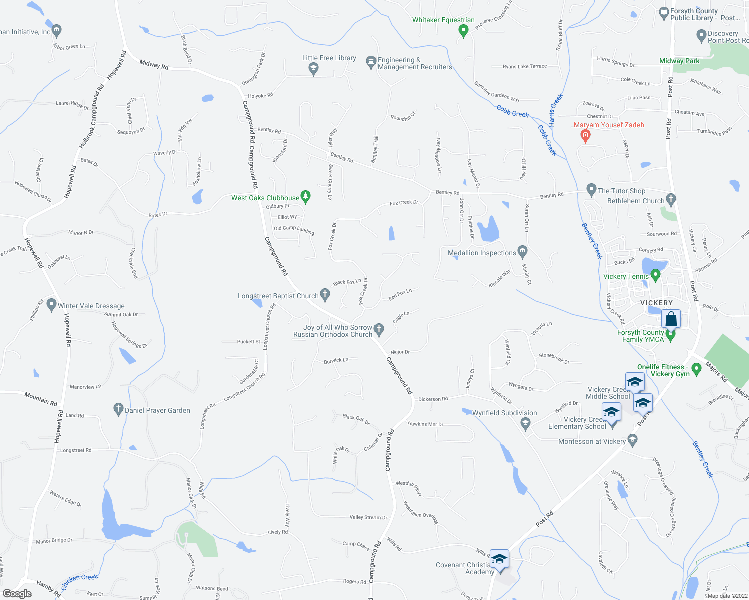 map of restaurants, bars, coffee shops, grocery stores, and more near 7072-7156 Fox Creek Drive in Cumming
