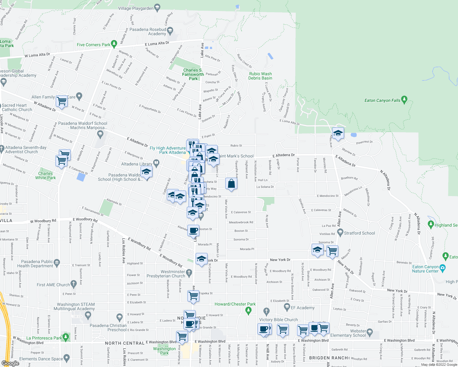 map of restaurants, bars, coffee shops, grocery stores, and more near 1163 Beverly Way in Altadena