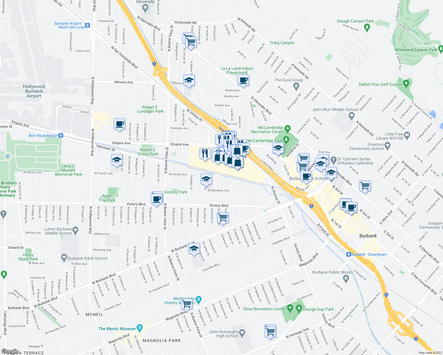 map of restaurants, bars, coffee shops, grocery stores, and more near 1340 North Orchard Drive in Burbank