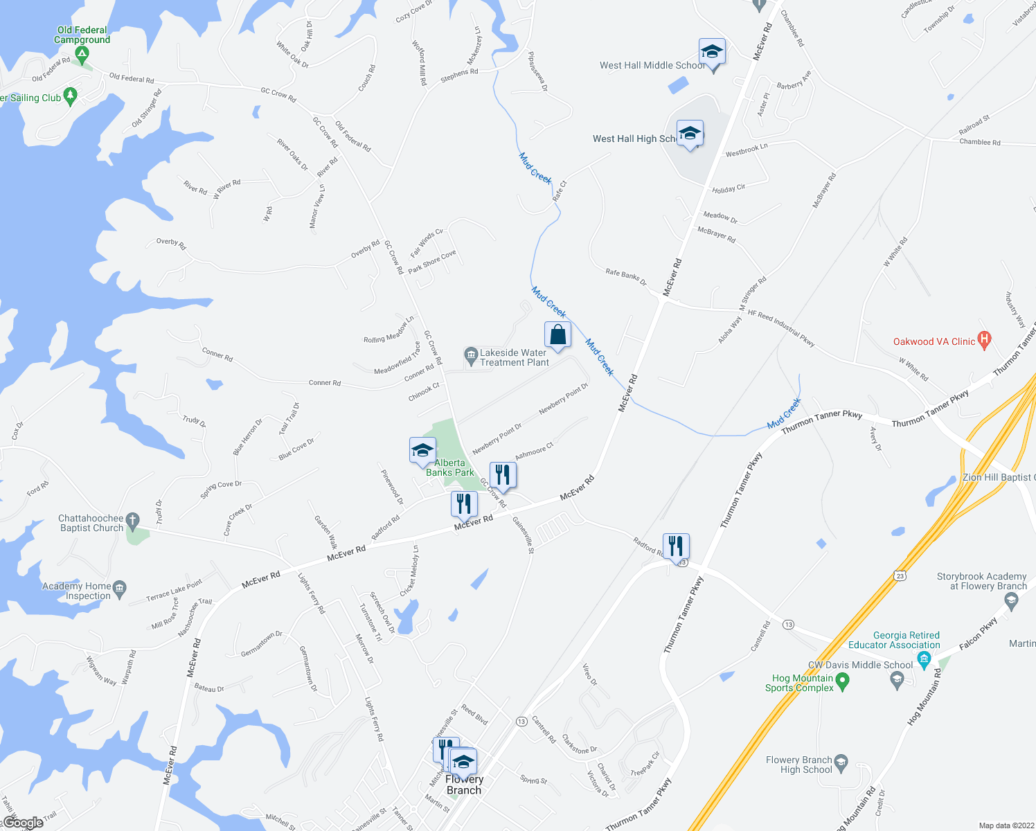 map of restaurants, bars, coffee shops, grocery stores, and more near 5599 Newberry Point Drive in Flowery Branch