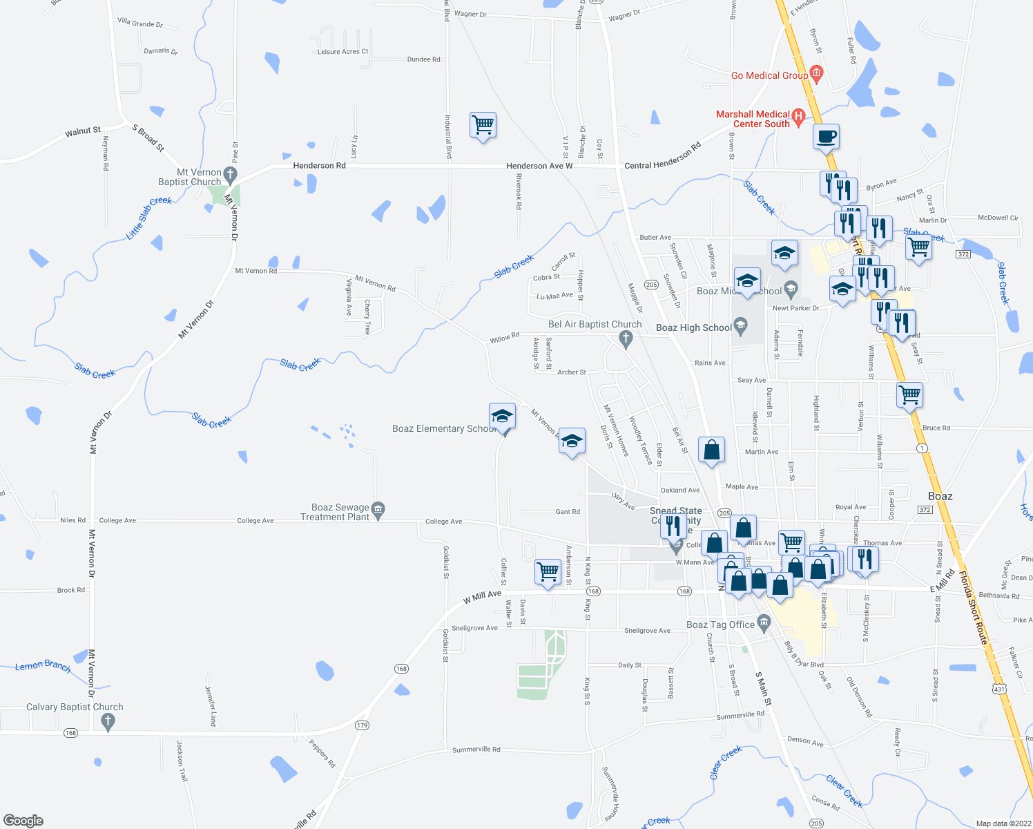 map of restaurants, bars, coffee shops, grocery stores, and more near 464-488 Collier Street in Boaz