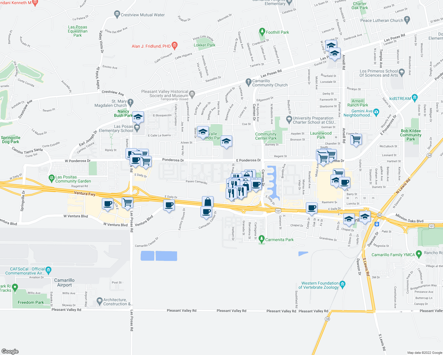 map of restaurants, bars, coffee shops, grocery stores, and more near 949-1105 Paseo Camarillo in Camarillo