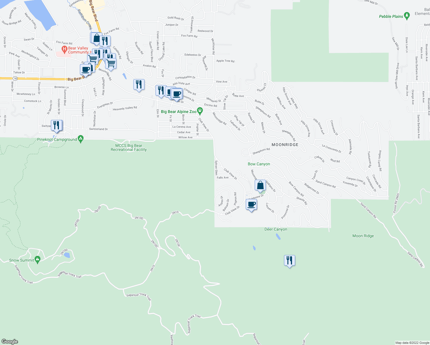 map of restaurants, bars, coffee shops, grocery stores, and more near 1120 Sylvan Glen in Big Bear Lake