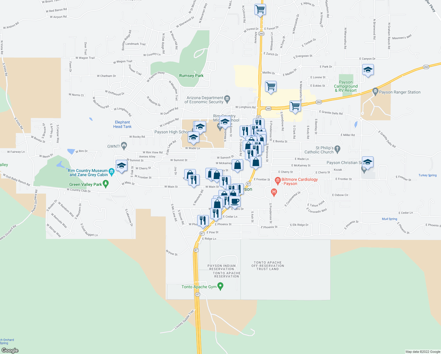 300 west frontier street payson az walk score map of restaurants bars coffee shops grocery stores and more near 300 publicscrutiny Gallery