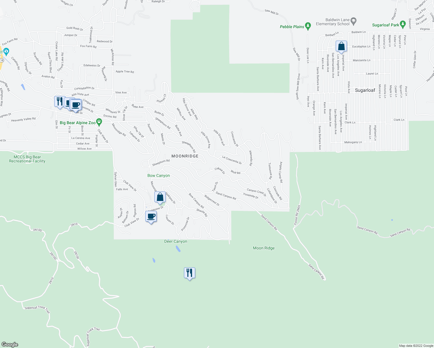 map of restaurants, bars, coffee shops, grocery stores, and more near 43598 Yosemite Drive in Big Bear Lake