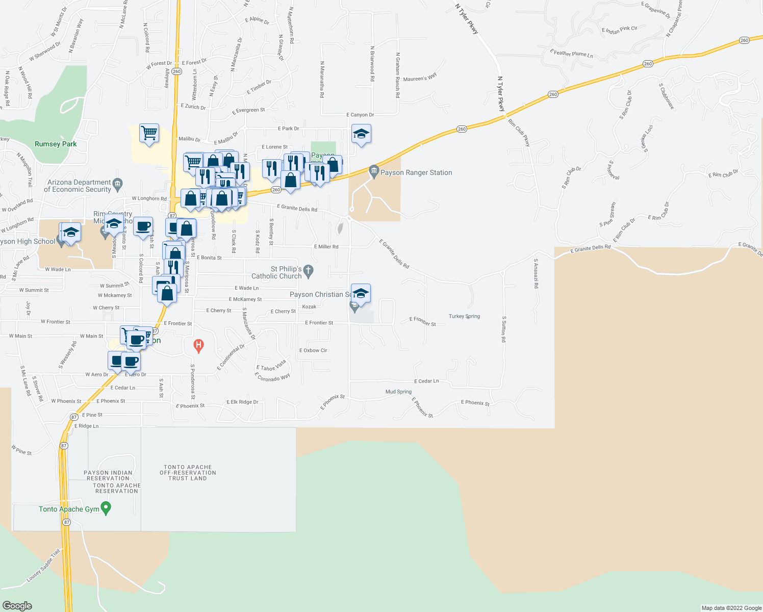 map of restaurants, bars, coffee shops, grocery stores, and more near 713 South Ridgeway Lane in Payson