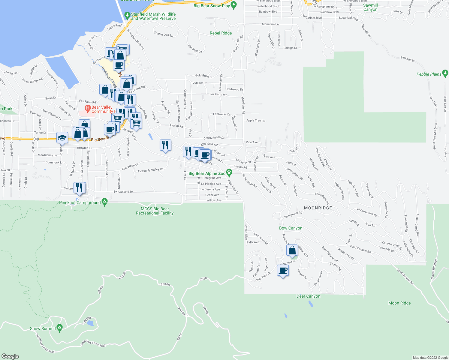map of restaurants, bars, coffee shops, grocery stores, and more near 42769 Peregrine Avenue in Big Bear Lake
