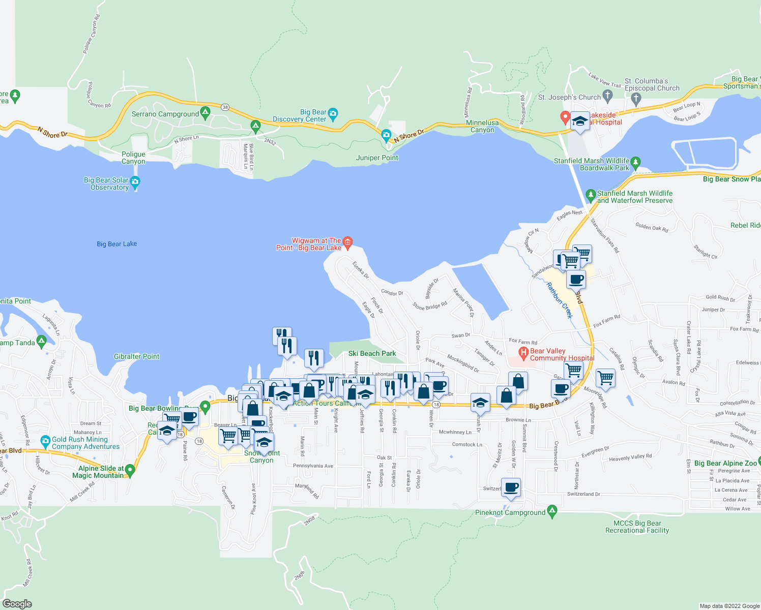 map of restaurants, bars, coffee shops, grocery stores, and more near 123 Finch Drive in Big Bear Lake