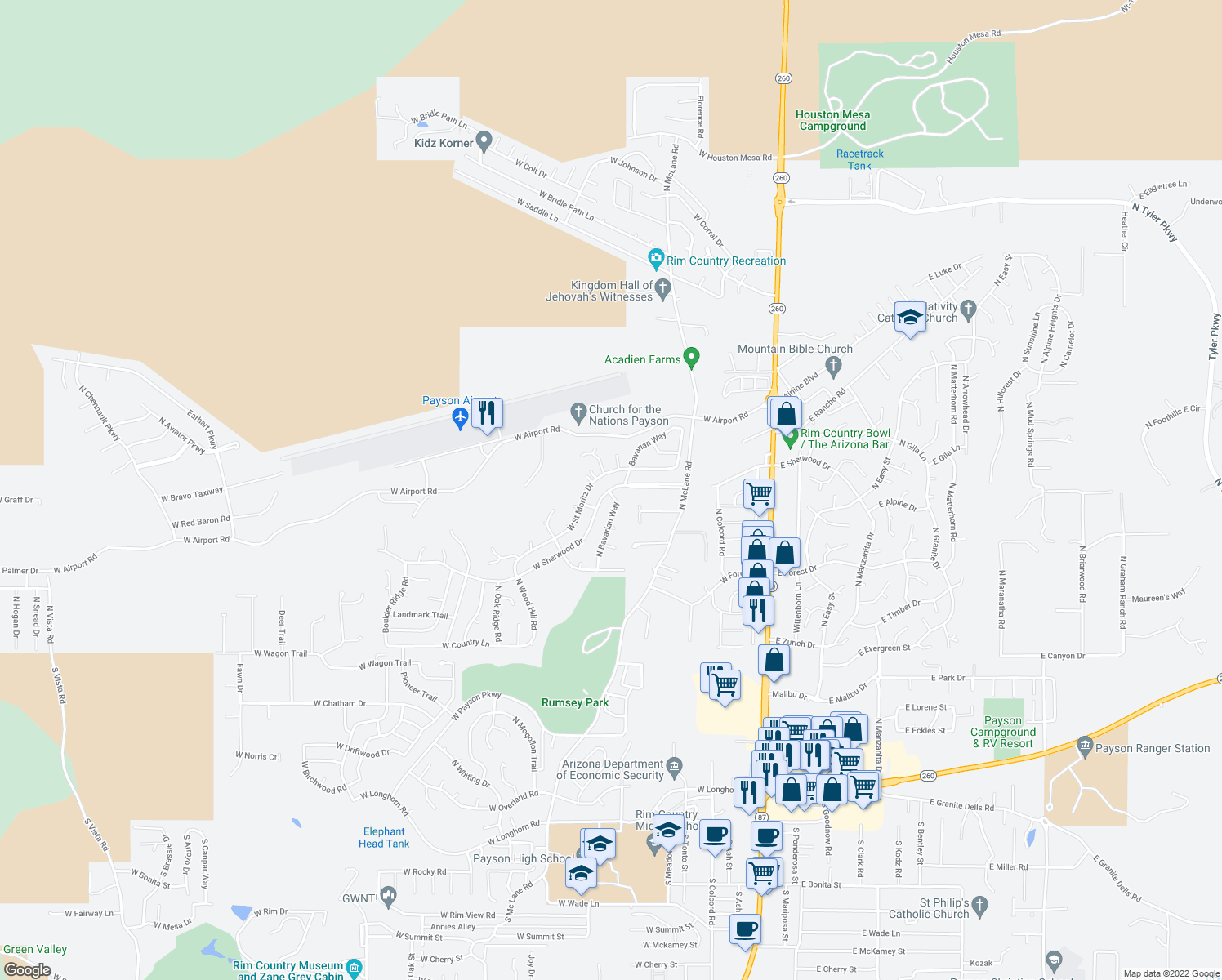 map of restaurants, bars, coffee shops, grocery stores, and more near 819 West Sherwood Drive in Payson
