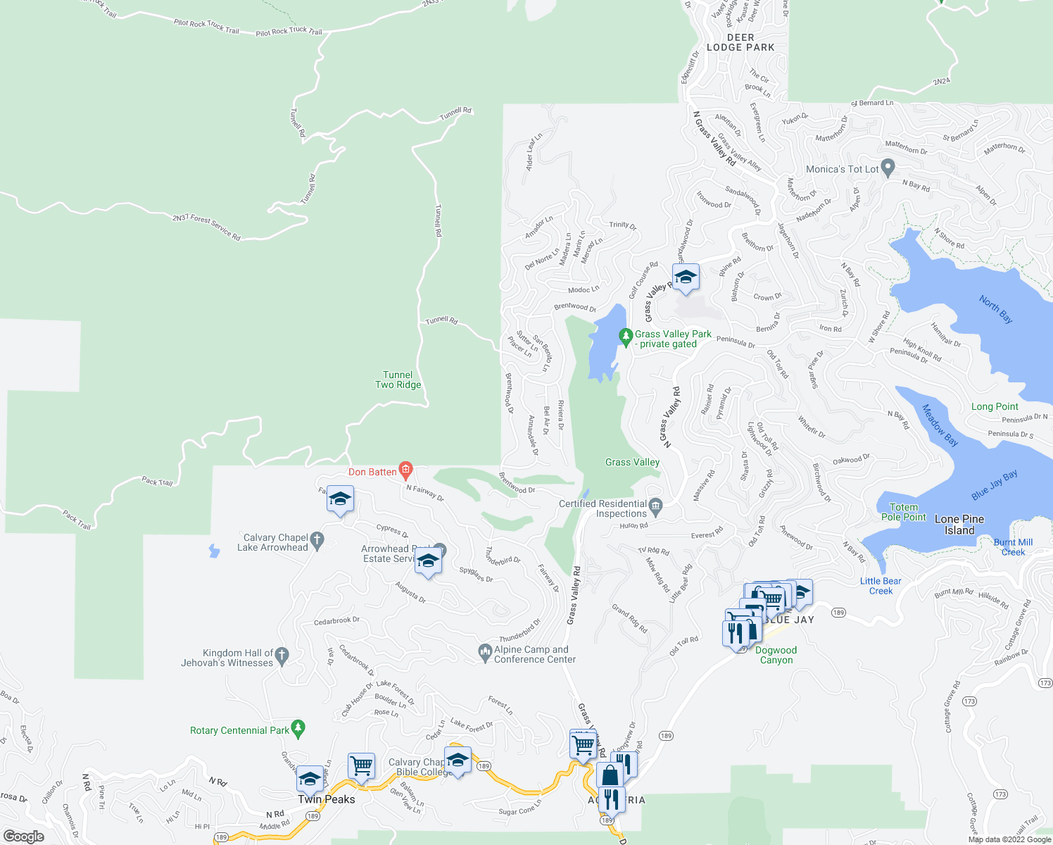 map of restaurants, bars, coffee shops, grocery stores, and more near 418 Annandale Drive in Lake Arrowhead