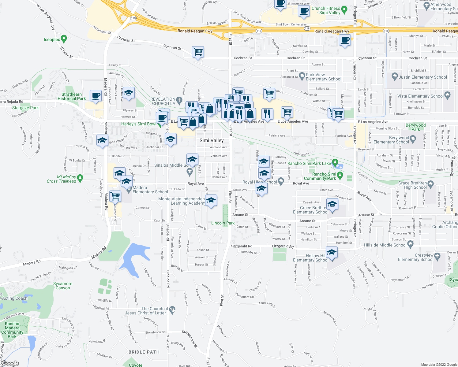 map of restaurants, bars, coffee shops, grocery stores, and more near First St & Royal Ave in Simi Valley