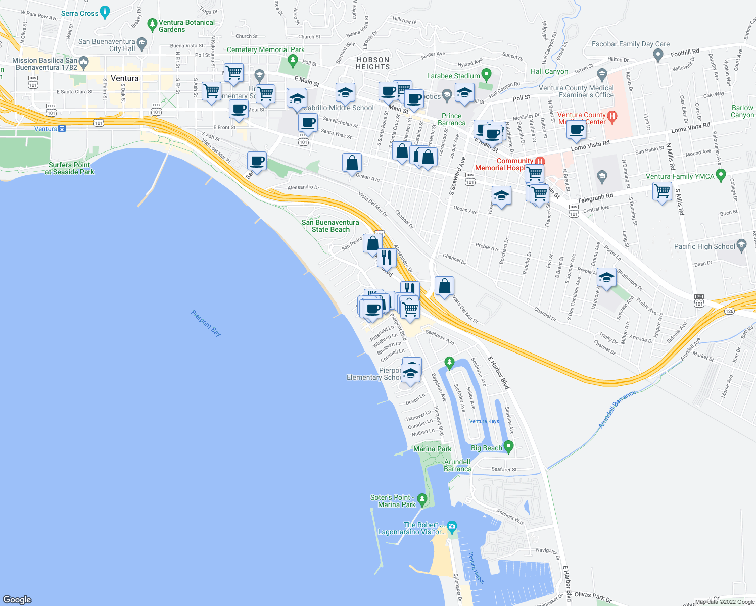 map of restaurants, bars, coffee shops, grocery stores, and more near 1028 Bath Lane in Ventura