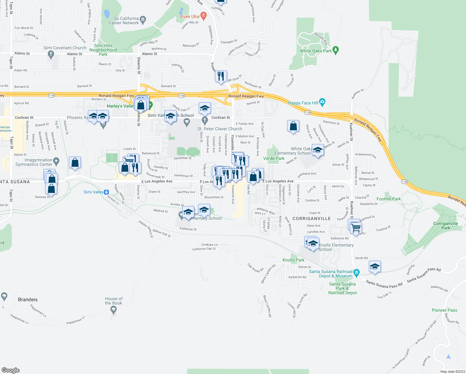 map of restaurants, bars, coffee shops, grocery stores, and more near 1927-1965 Yosemite Avenue in Simi Valley