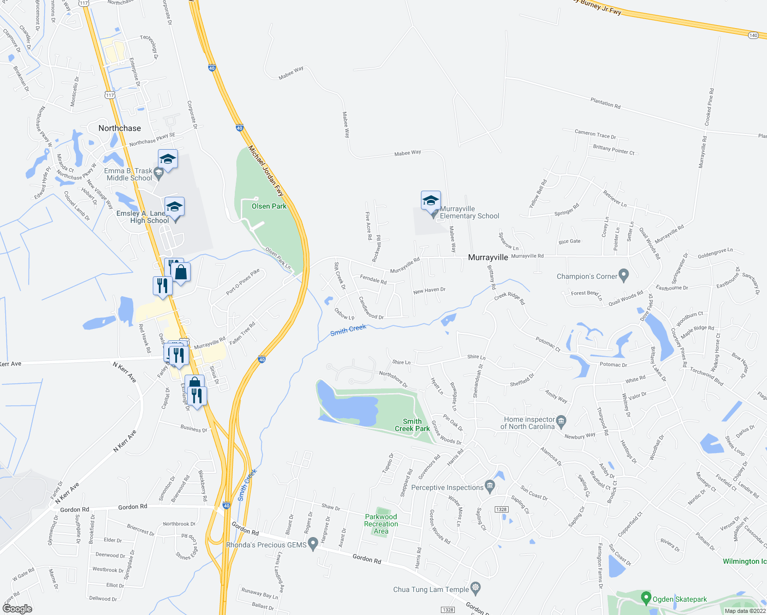 map of restaurants, bars, coffee shops, grocery stores, and more near 132 Meadowood Drive in Wilmington