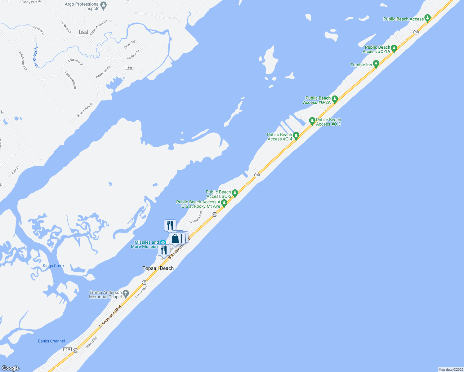 map of restaurants, bars, coffee shops, grocery stores, and more near 129 Bridgers Avenue in Topsail Beach