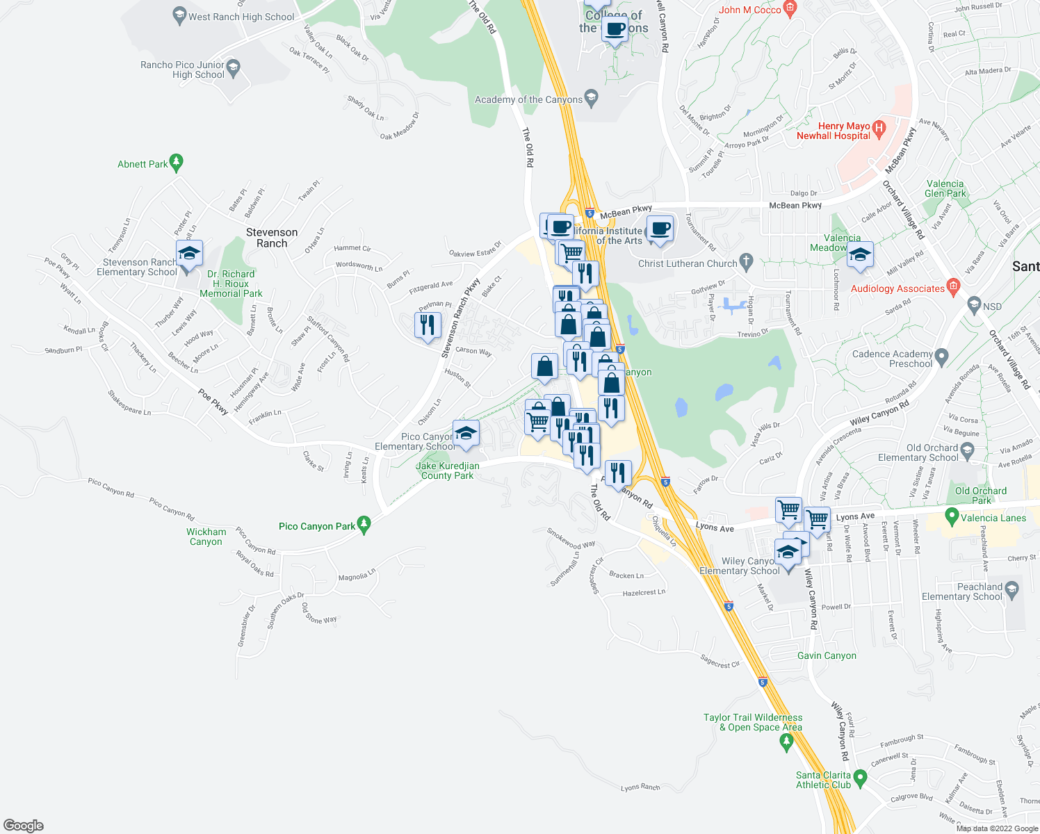 map of restaurants, bars, coffee shops, grocery stores, and more near 24979 Constitution Avenue in Stevenson Ranch