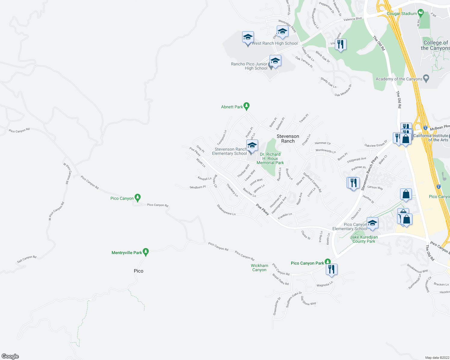 map of restaurants, bars, coffee shops, grocery stores, and more near 26533 Thackery Lane in Stevenson Ranch