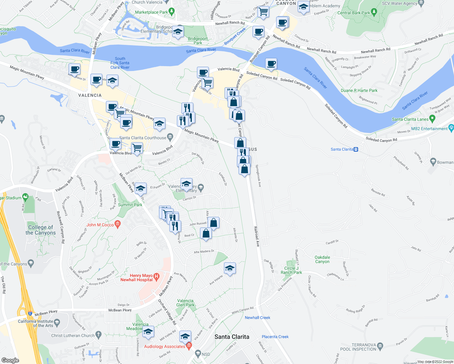 map of restaurants, bars, coffee shops, grocery stores, and more near 25882 Estaban Drive in Santa Clarita