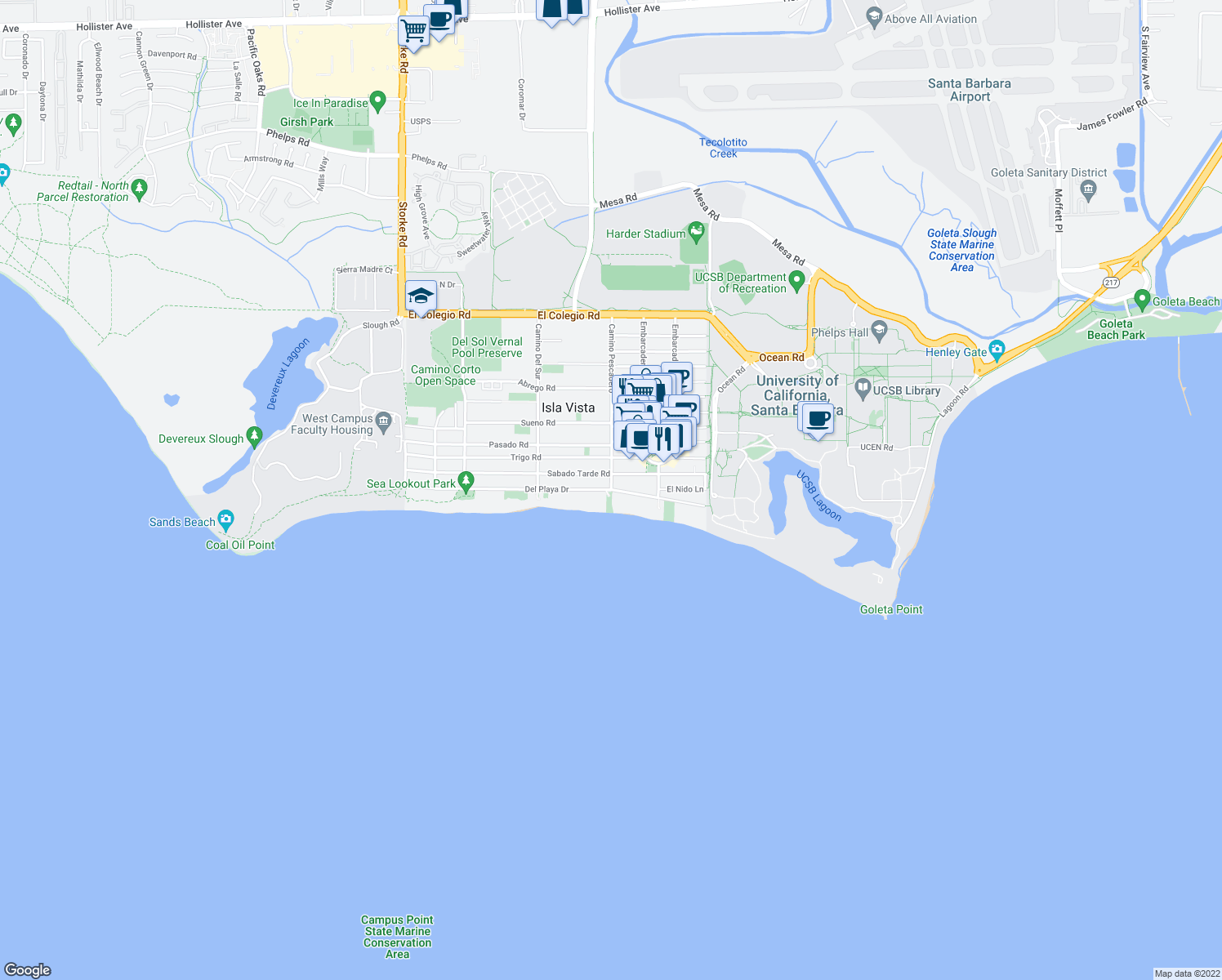 map of restaurants, bars, coffee shops, grocery stores, and more near Del Playa Dr & Camino Pescadero in Isla Vista