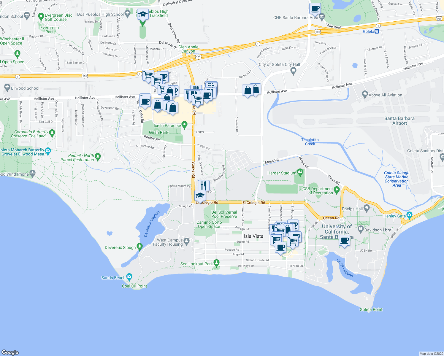 map of restaurants, bars, coffee shops, grocery stores, and more near 539 Fireside Lane in Goleta