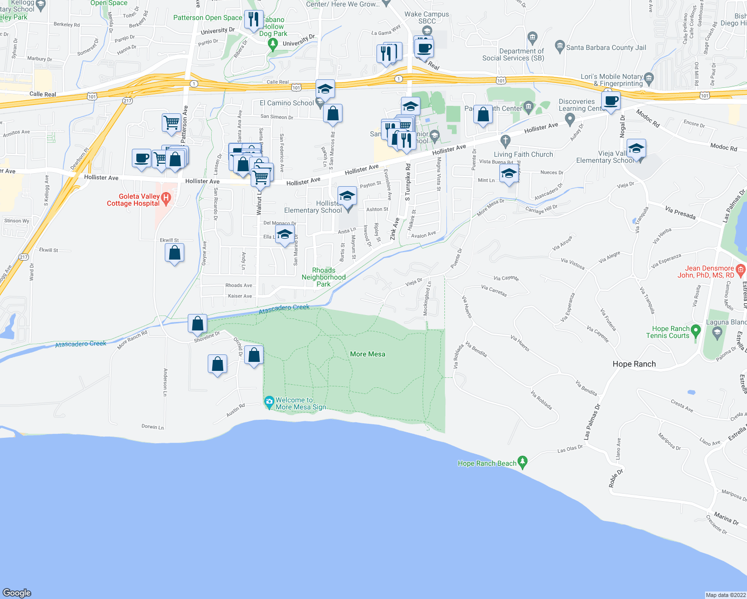 map of restaurants, bars, coffee shops, grocery stores, and more near 1027 Sandpiper Lane in Santa Barbara