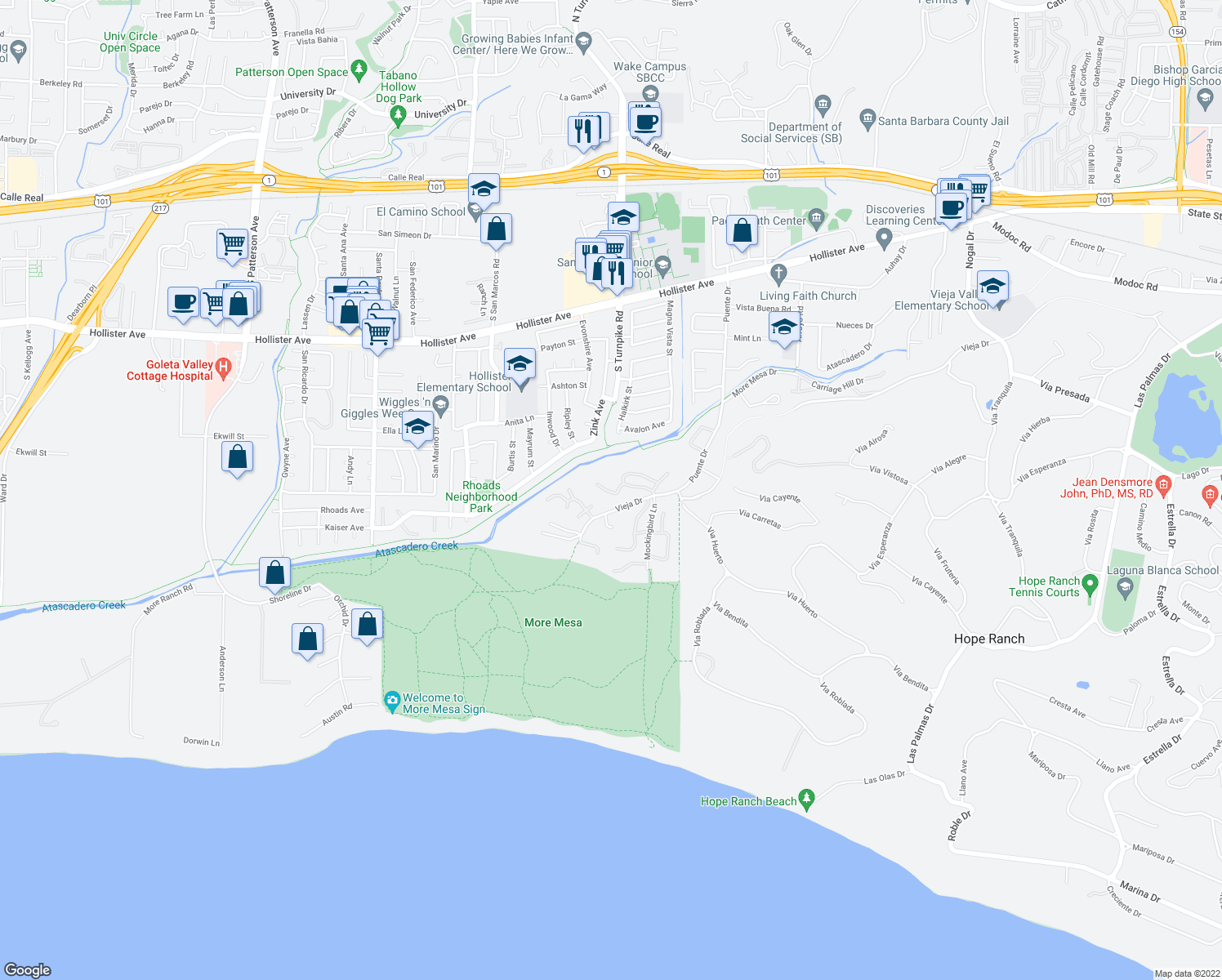 map of restaurants, bars, coffee shops, grocery stores, and more near 4778 Calle Camarada in Santa Barbara
