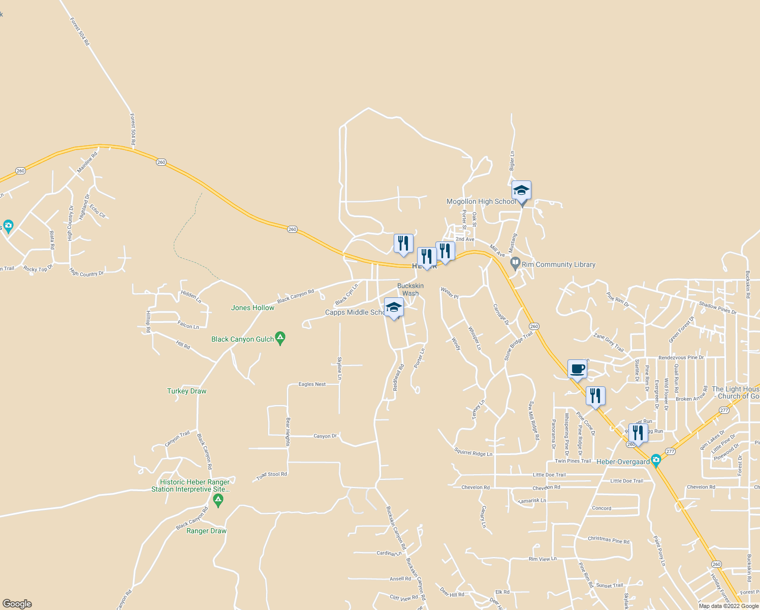 map of restaurants, bars, coffee shops, grocery stores, and more near 3383-3387 Buckskin Canyon Road in Heber-Overgaard