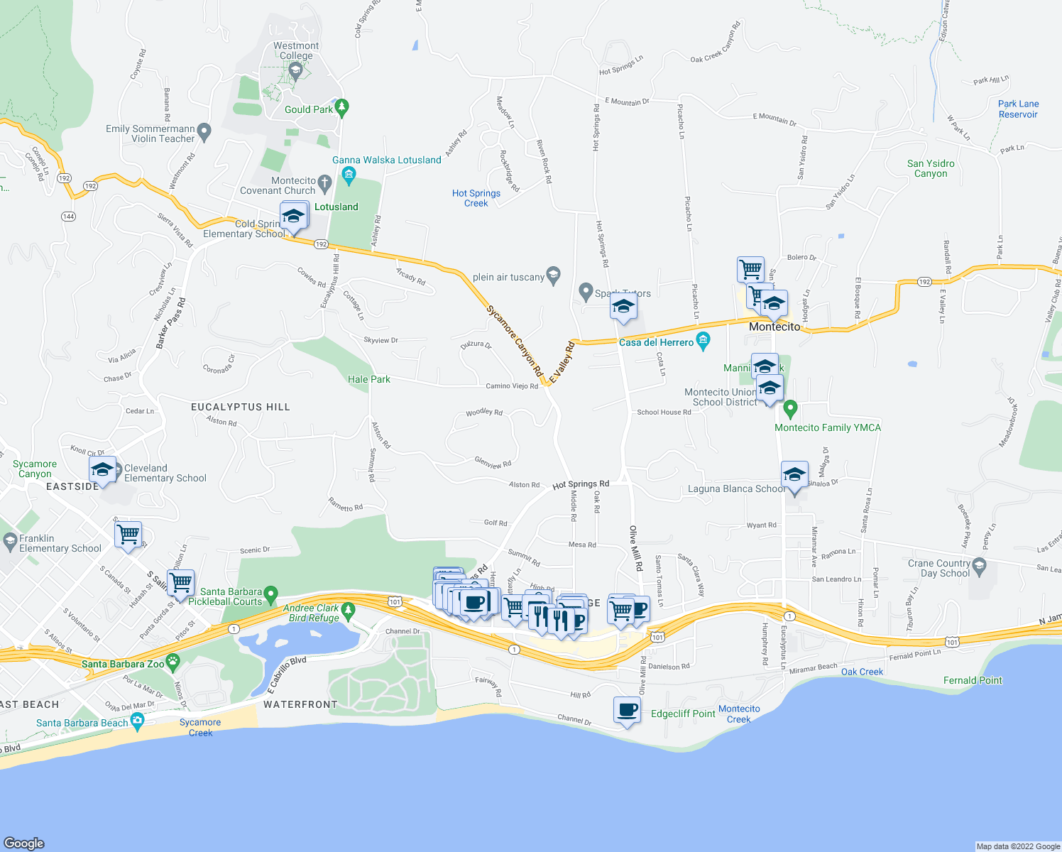 map of restaurants, bars, coffee shops, grocery stores, and more near 440 Woodley Road in Montecito