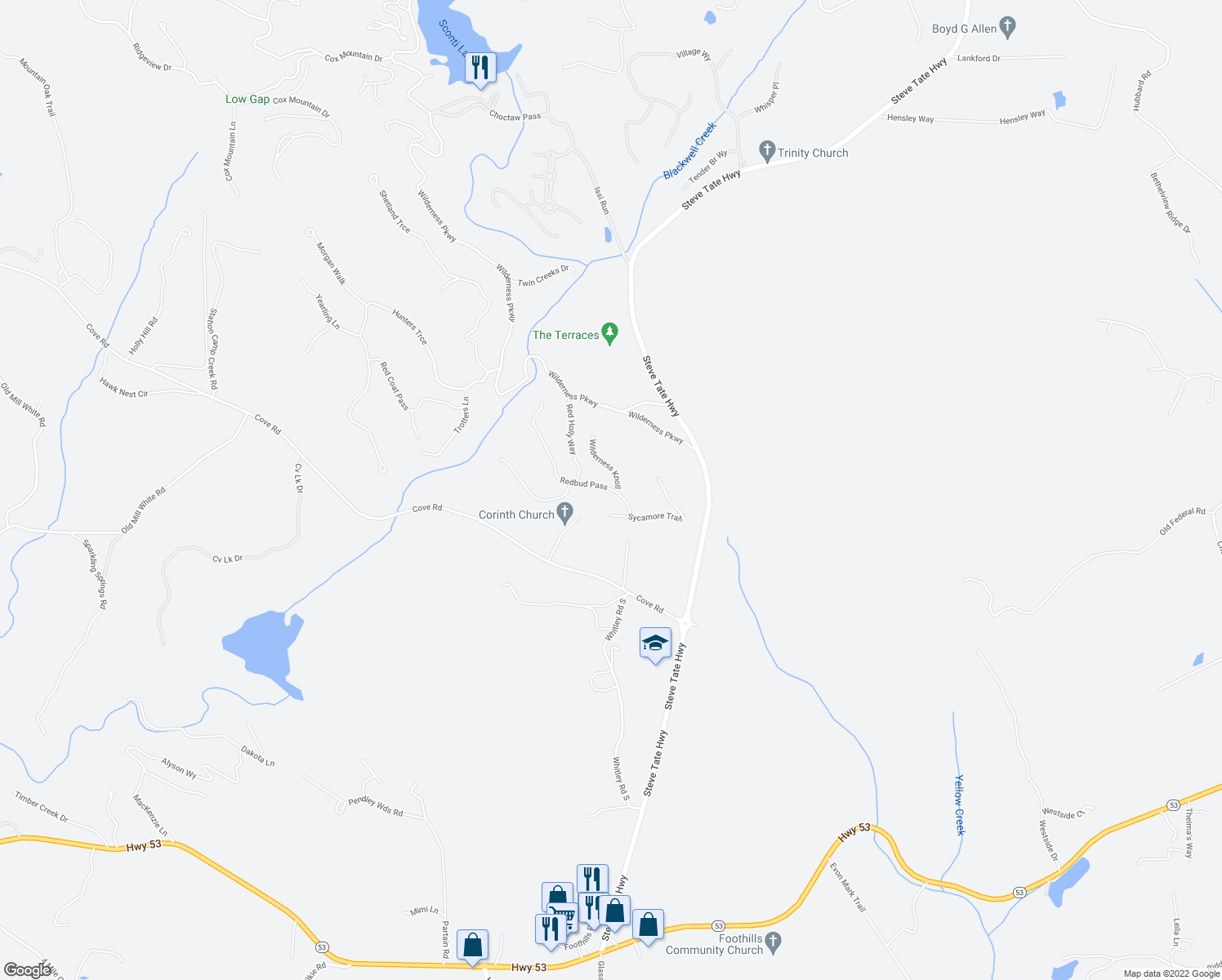 map of restaurants, bars, coffee shops, grocery stores, and more near 109 Redbud Pass in Jasper