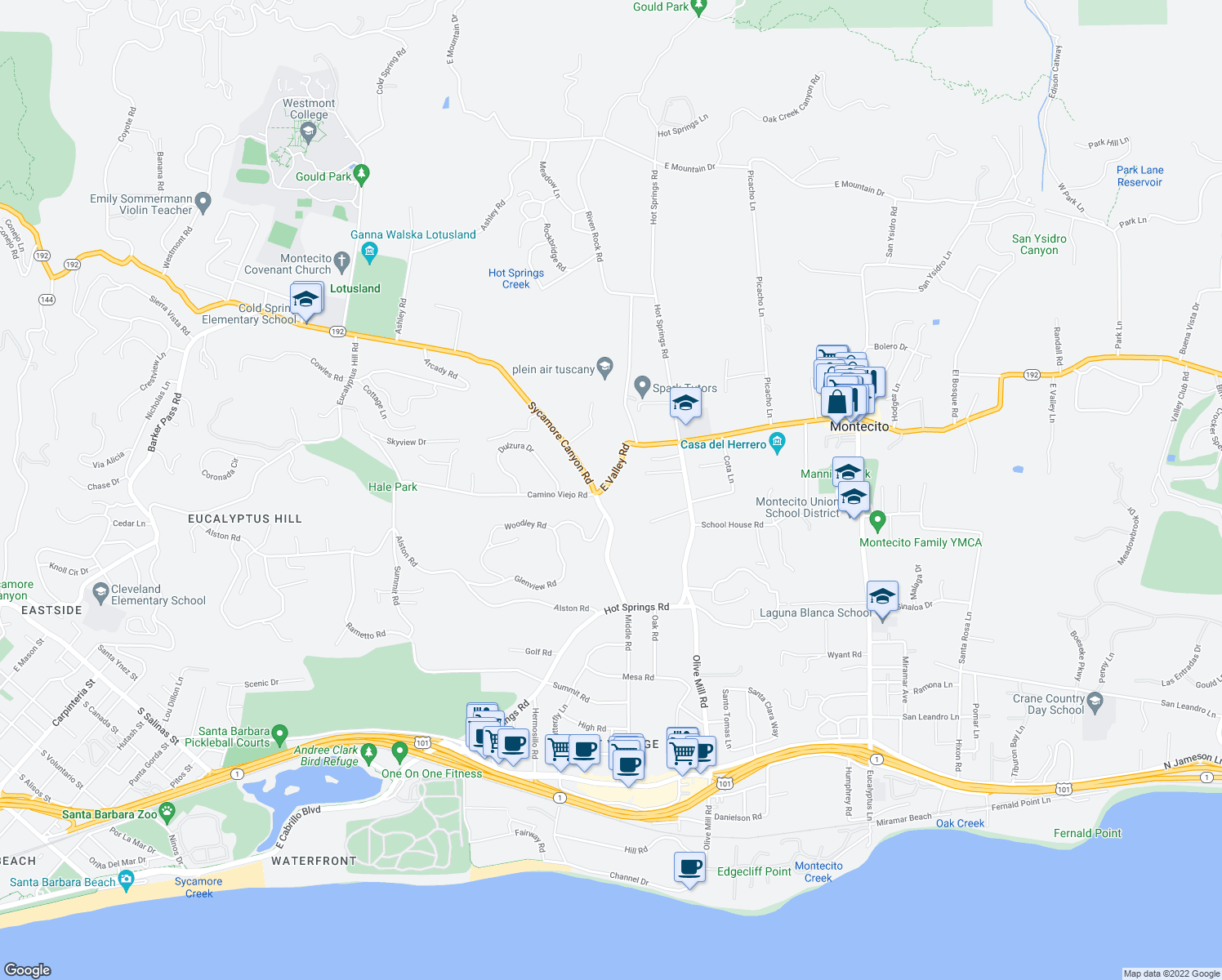 map of restaurants, bars, coffee shops, grocery stores, and more near 1211 East Valley Road in Montecito