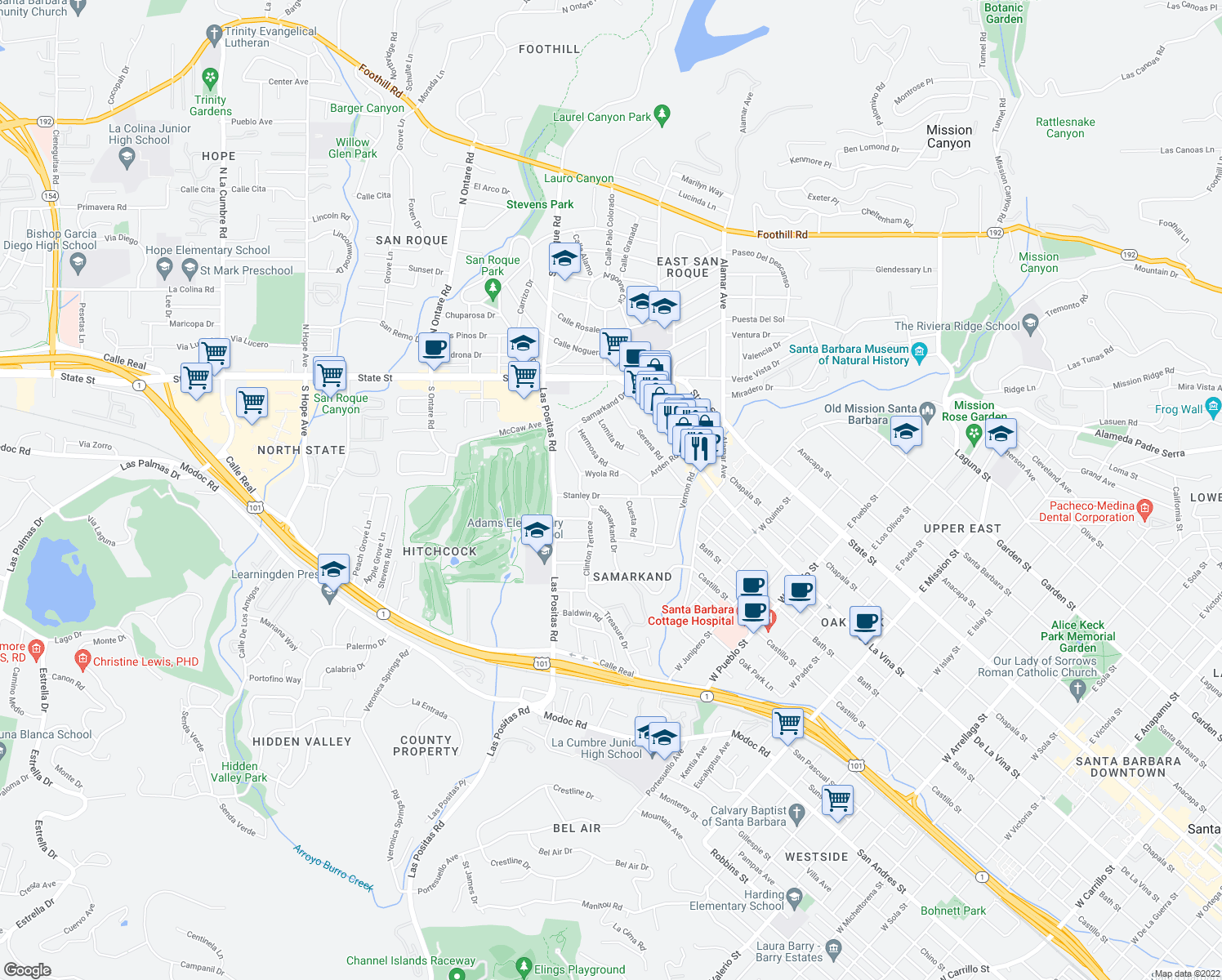 map of restaurants, bars, coffee shops, grocery stores, and more near 420 Stanley Dr in Santa Barbara