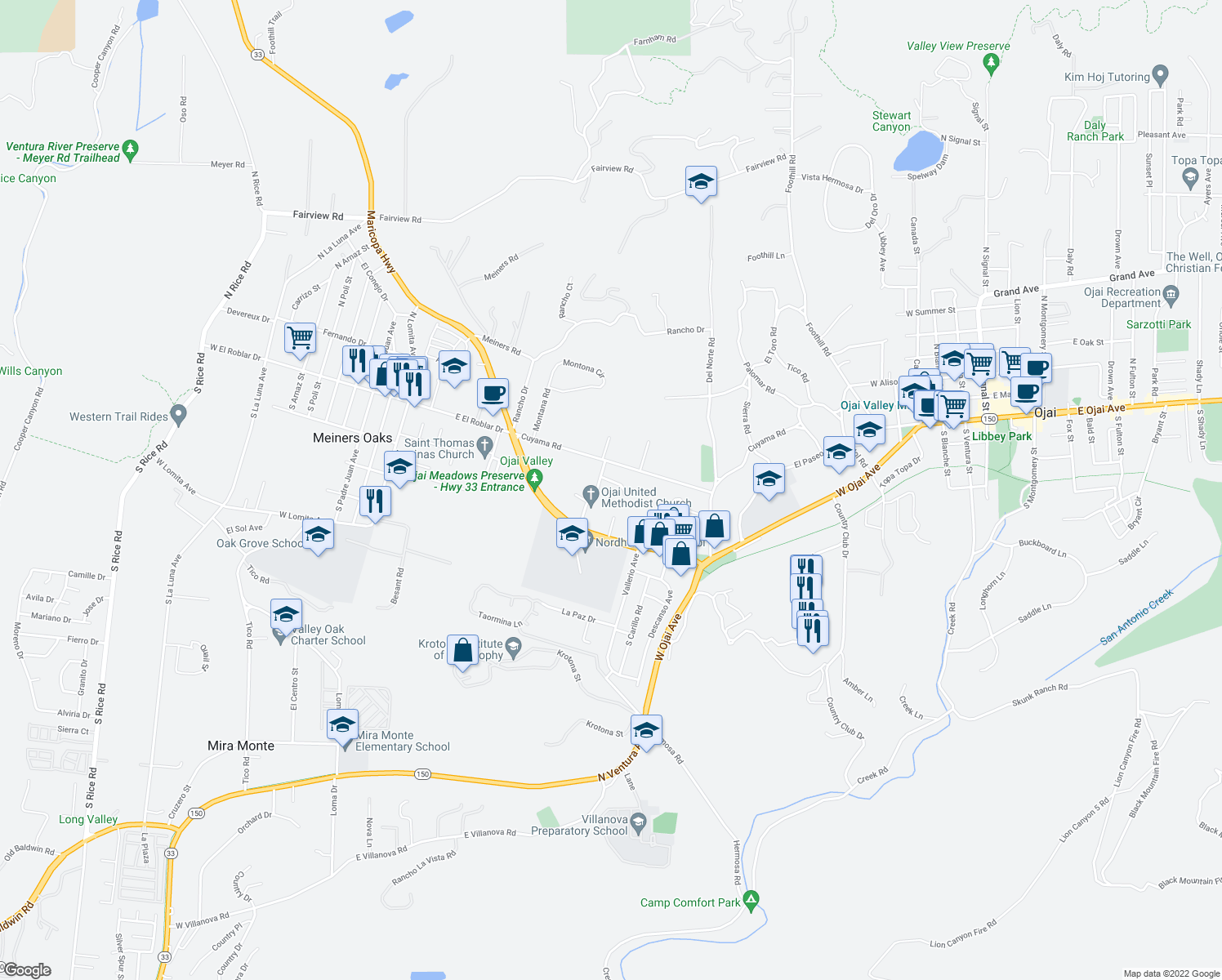map of restaurants, bars, coffee shops, grocery stores, and more near 410 Church Road in Ojai