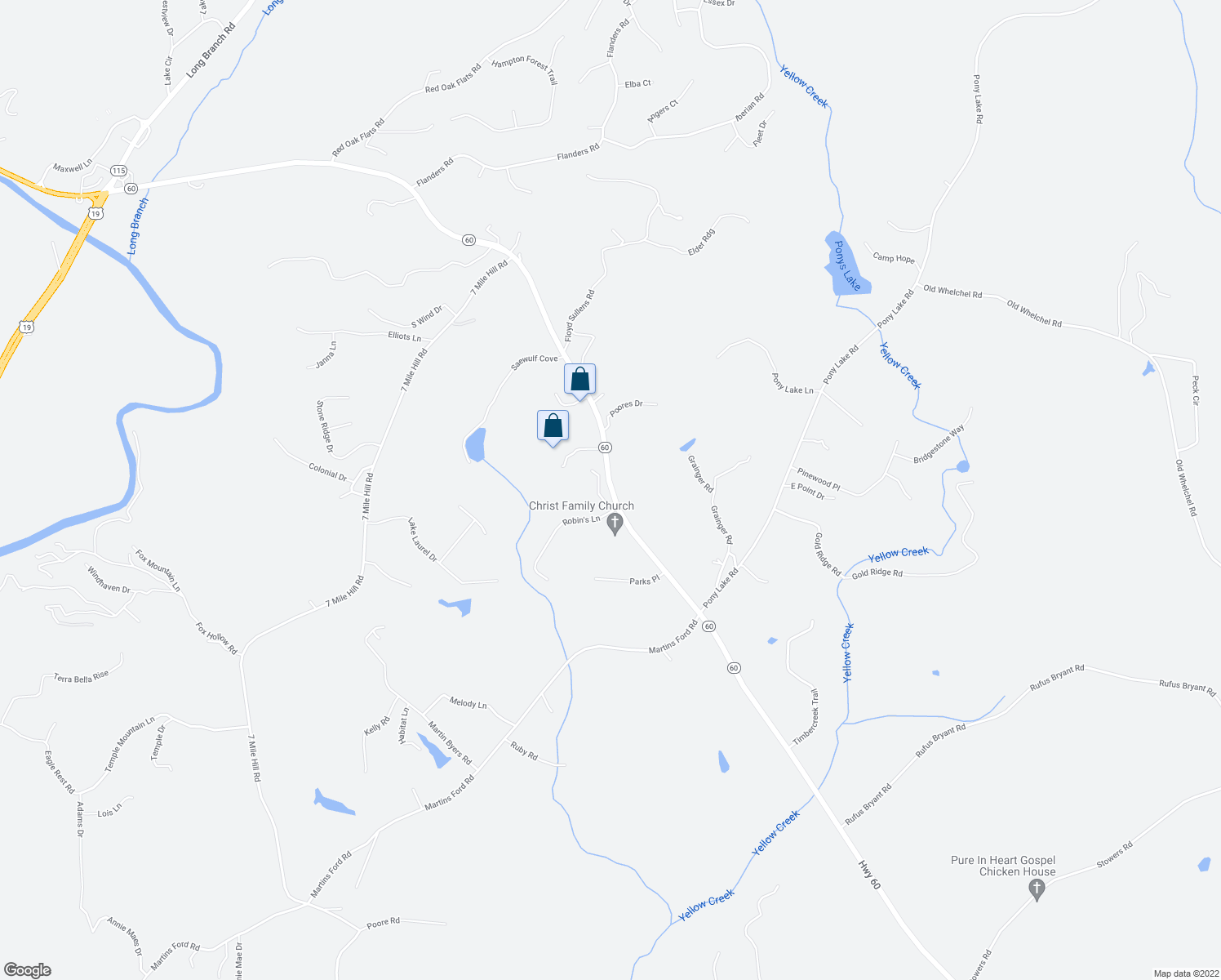 map of restaurants, bars, coffee shops, grocery stores, and more near 9715 South Chestatee in Dahlonega