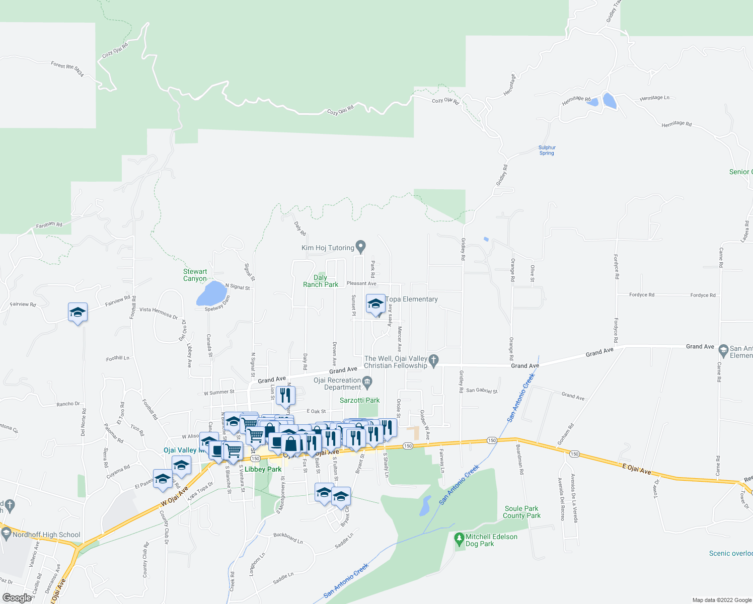 map of restaurants, bars, coffee shops, grocery stores, and more near 1113 Ayers Avenue in Ojai