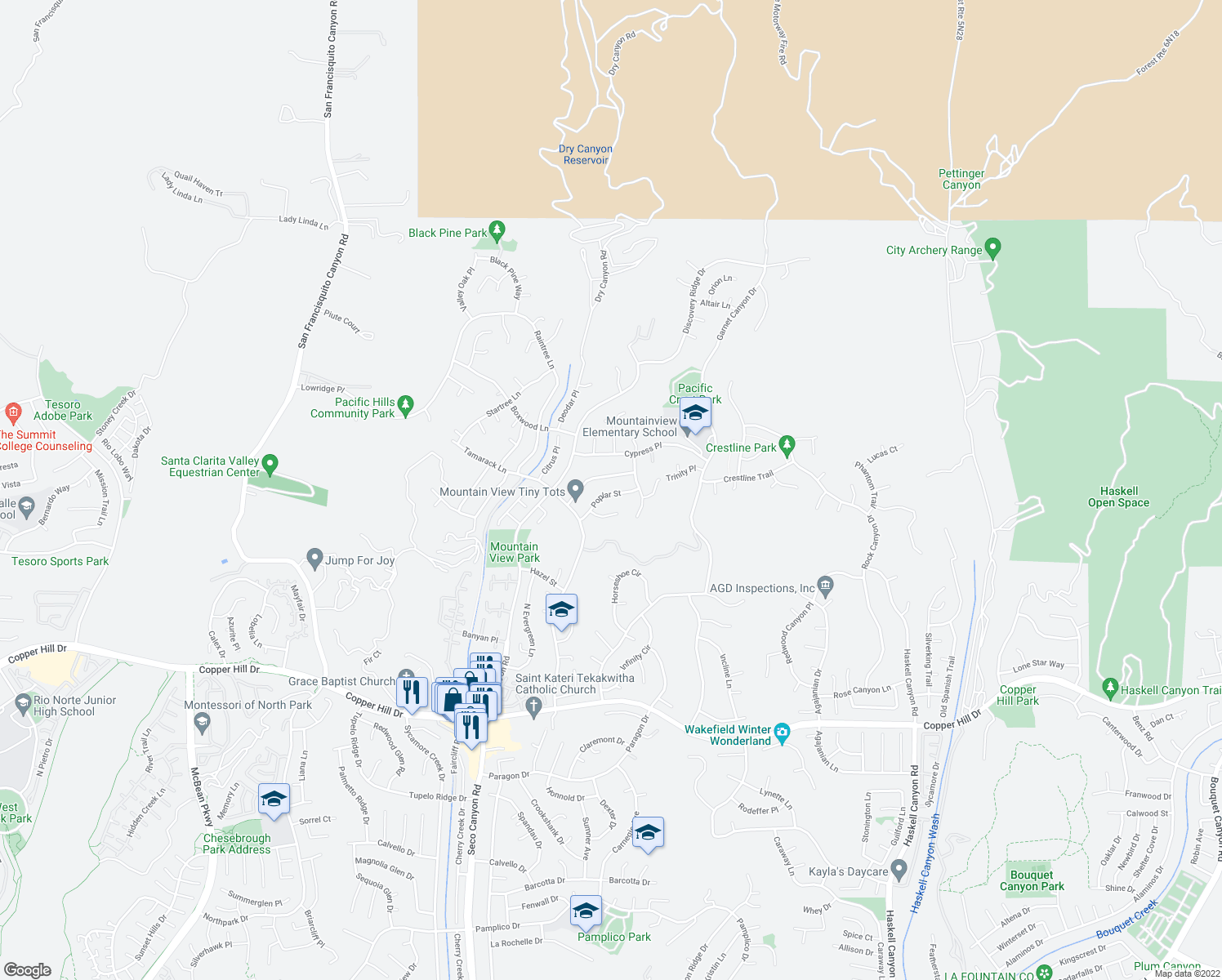 map of restaurants, bars, coffee shops, grocery stores, and more near 22443 Poplar Street in Santa Clarita