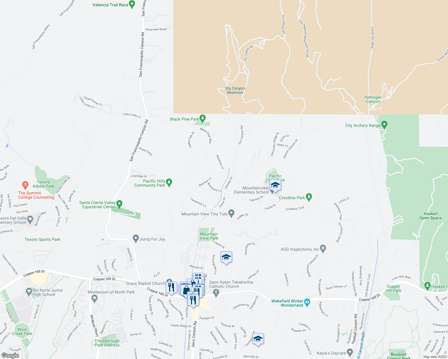 map of restaurants, bars, coffee shops, grocery stores, and more near 28856 Raintree Lane in Santa Clarita
