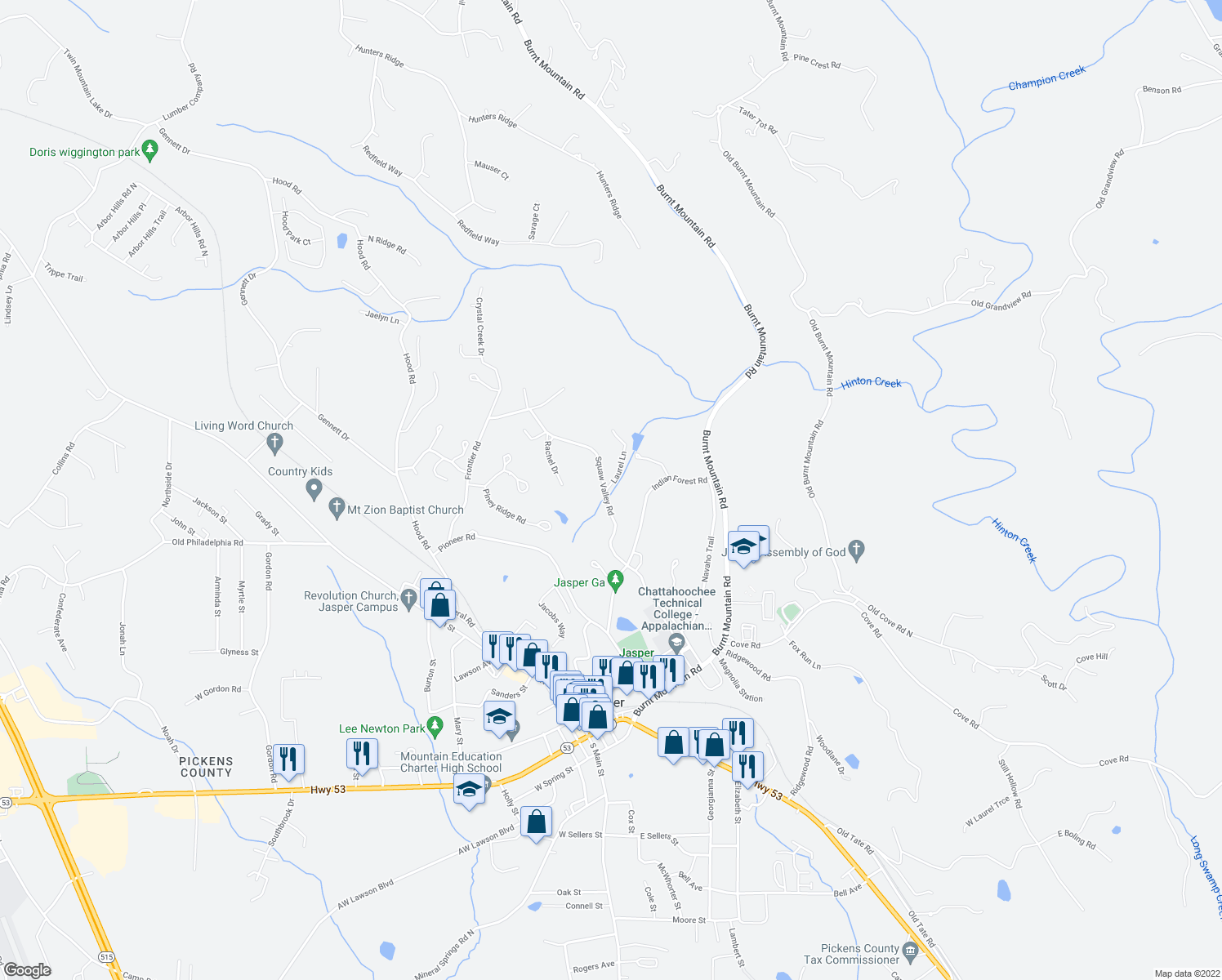 map of restaurants, bars, coffee shops, grocery stores, and more near 6 Laurel Lane in Jasper
