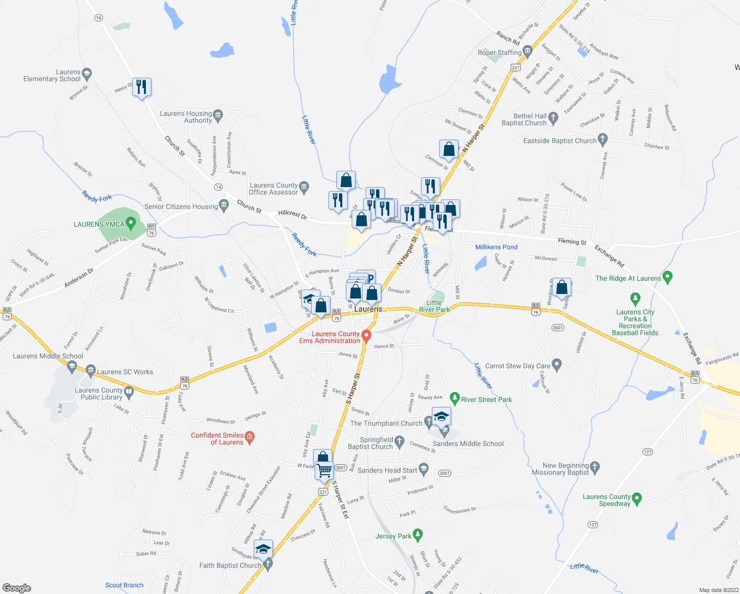 map of restaurants, bars, coffee shops, grocery stores, and more near 123 East Laurens Street in Laurens