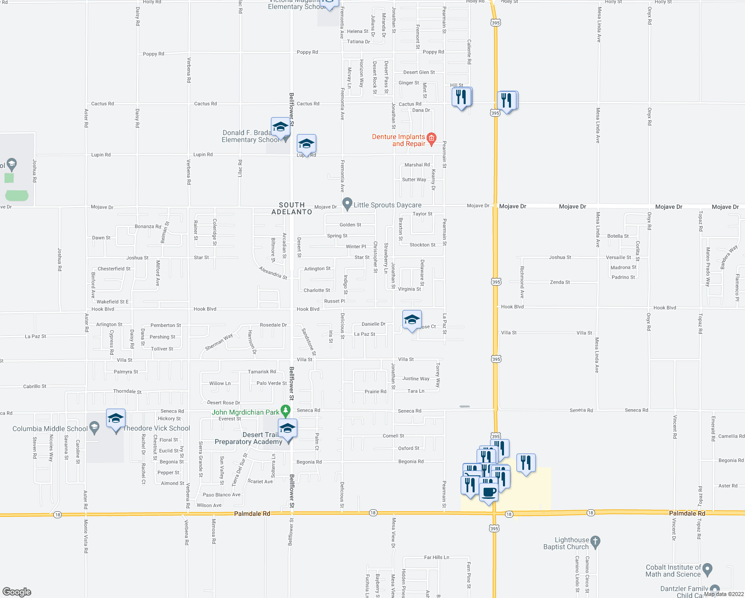map of restaurants, bars, coffee shops, grocery stores, and more near 14940 Christopher Street in Adelanto