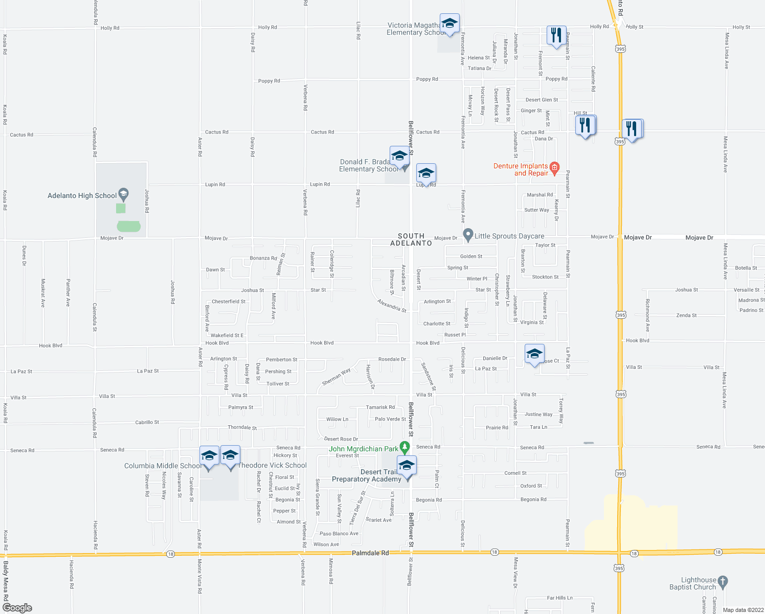 map of restaurants, bars, coffee shops, grocery stores, and more near 11199 Alexandria Street in Adelanto